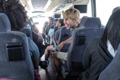 Samuel Smiling on bus playing uno